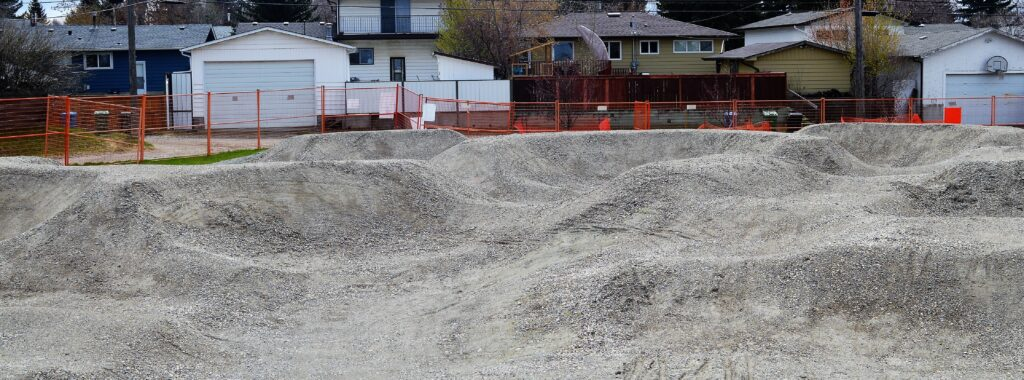 Flint Park Bike Pump Track May 2020 nearing completion